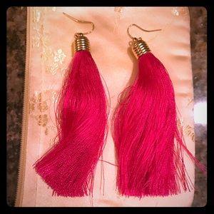 Hot pink tassel earrings